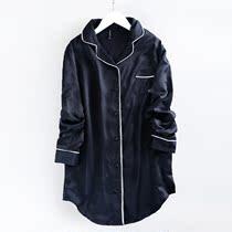 欧美出口 舒适长款粉色黑色居家服 外贸长袖睡衣制服女春季D03
