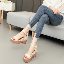 百搭坡跟高跟粗跟韩版内增高松糕鞋