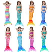 新儿童美人鱼尾巴泳衣套装COS服装可加脚蹼美人鱼礼物女童游泳衣