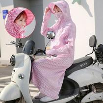 骑车防晒衣女夏季披肩全身电动车纯棉防紫外线摩托车加长款遮阳衣
