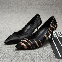 欧洲站时尚真皮细跟尖头浅口高跟鞋