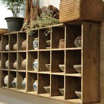 做旧实木格子置物架 方格置物架 格子展示架搁架茶杯茶具收纳架