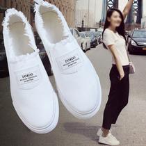 春季韩版平底一脚蹬懒人休闲帆布鞋