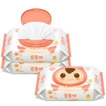 原装进口顺顺儿新生儿婴儿湿巾宝宝无香压花湿纸巾带盖100抽3包