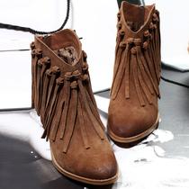 秋冬磨砂中跟圆头粗跟擦色英伦马丁靴