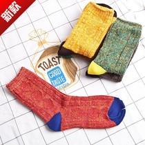 韩国UZ  春夏秋冬季女士森系原宿中筒袜复古粗线民族风长袜子拼色