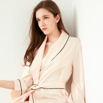 好奇小姐性感日式丝质系带长袍