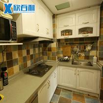欣百利 红橡实木厨柜定制广州 全屋定制厨柜欧式原木整体橱柜定做