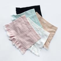 2条甜美蕾丝高腰棉档条纹打底安全裤