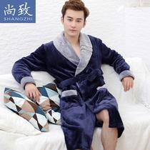 尚致(服饰)睡袍男冬季加厚珊瑚绒睡衣男法兰绒浴袍男冬款家居服