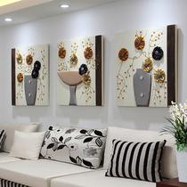 沙发背景墙装饰画客厅挂画三联画立体浮雕现代简约无框画餐厅壁画