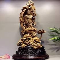 马来OK沉香木根雕工艺品摆件木雕雕件人物观音雕像手工一叶观音