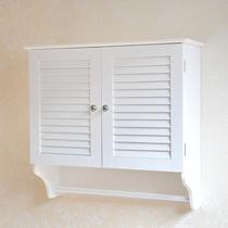 百叶双门防潮浴室吊柜带毛巾挂杆卫生间壁柜挂柜洗手间墙上储物柜