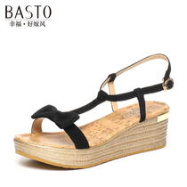 百思图夏季专柜同款时尚简约坡跟凉鞋