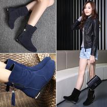 冬季磨砂平跟真皮平底棉靴子