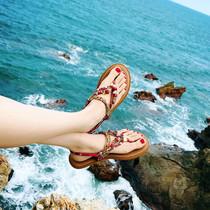 百搭波西米亚民族风夹趾罗马沙滩凉鞋