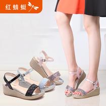 红蜻蜓夏季坡跟甜美粗跟凉鞋