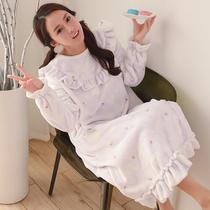 冬天睡衣女长袖 韩版甜美可爱珊瑚绒加厚家居服 长裙睡裙女秋冬季