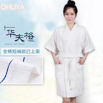 日式夏季情侣薄款白色纯棉成人浴袍