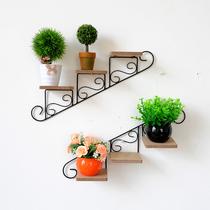 美式乡村复古铁艺楼梯花架墙上小盆栽摆件置物架店铺装饰壁挂壁饰