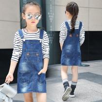 韩版女童牛仔夏季中大童春秋背带裙