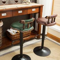 铁艺吧台椅升降椅实木靠背旋转欧式美式复古星巴克高脚凳酒吧椅子