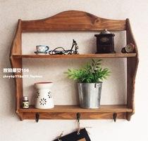 原木做旧收纳壁挂架置物架创意木制搁板衣帽挂钩 装饰架/装饰搁板