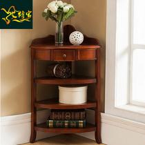 美式实木客厅转角整装储物墙角柜