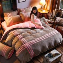 纯色韩版法莱绒法兰绒加厚四件套冬珊瑚绒床单式被套床品1.8m床