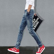 青少年直筒修身型男士小脚休闲牛仔裤