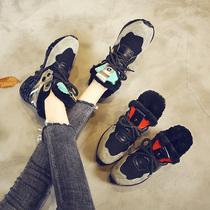 韩版学生平底加绒运动鞋