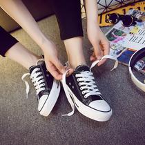 低帮黑色韩版休闲平底白色学生帆布鞋