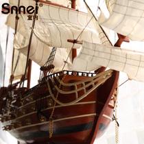 大型实木质仿真帆船模型拼装摆件 皇家胜利号80cm一帆风顺工艺船