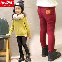 女童加绒加厚宝宝保暖冬季牛仔裤