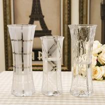 现代简约大号透明玻璃花瓶 百合富贵竹水培装饰花器 客厅花插花瓶