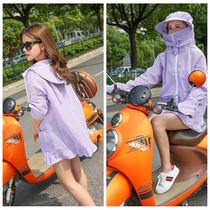 夏季骑车电动车防晒衣女纯棉防紫外线摩托车挡风衣长袖连帽遮阳衫
