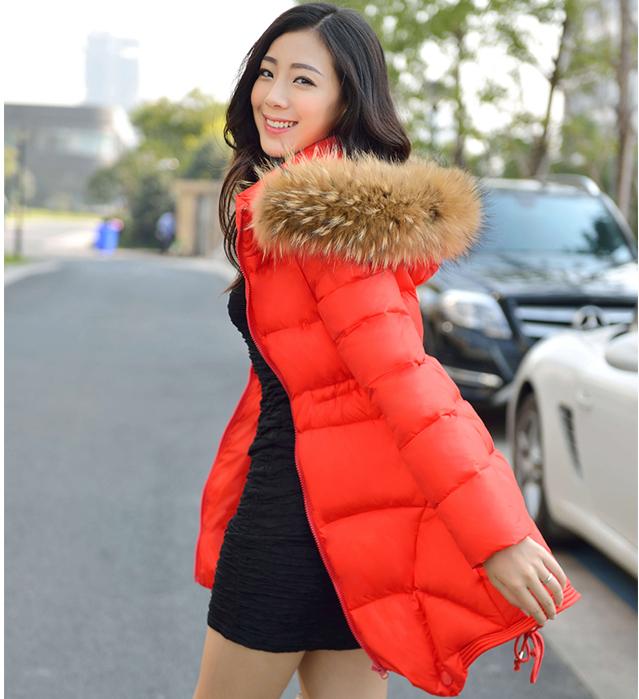 Женский пуховик Сам долго корейской версии енота в 2014 году новый вниз пальто женщин долго шерстяной плащ утолщенной привели слова почта