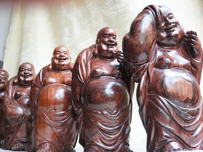 海黄五福临门 五罗汉佛像木雕一套5件- - 旭在东北 - 旭在东北原创音画博客(*^_^*)