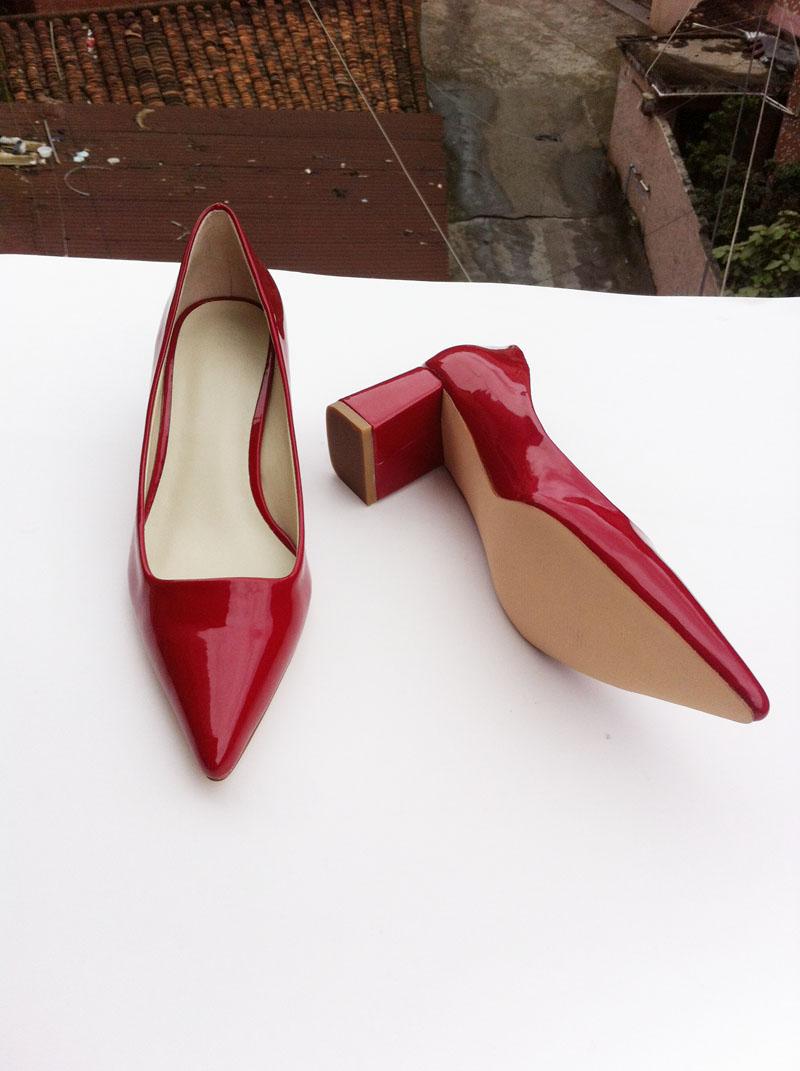 туфли Европы 2014 Весна новый OL маятниковой миграции женщин красная лакированная кожа коренастый пятки высокой пятки обувь заостренный кожа лодка обуви