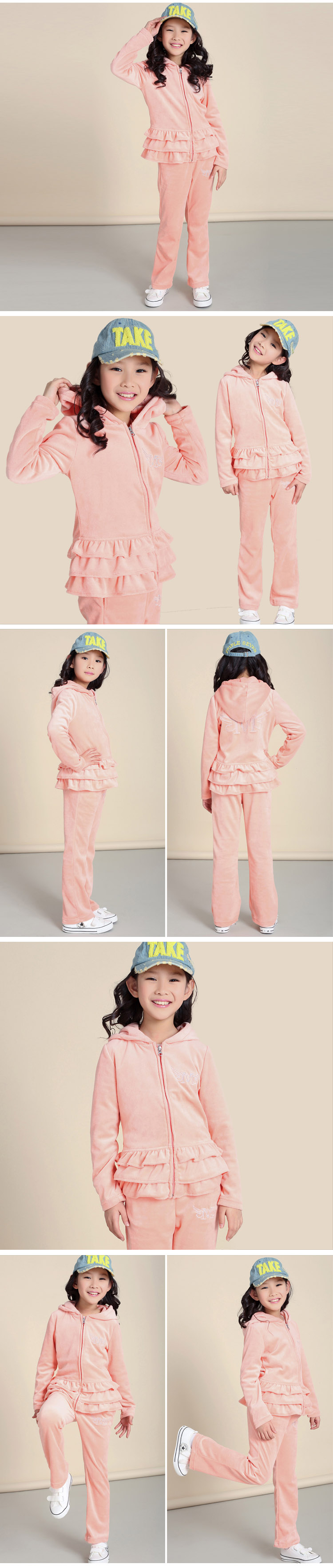 2013 spring girls velvet set ruffles Cardigan sports set girls boys suits