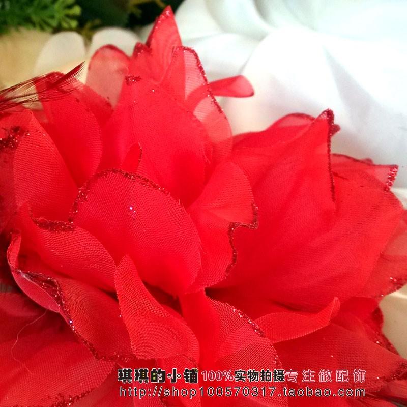 Цветок на запястье Кики аксессуары Красного перо невесты запястья цветок корсаж волосы аксессуар/цветок голову платья оптом