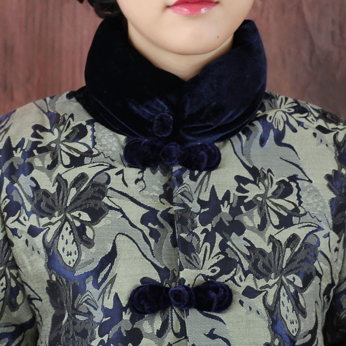 Блузка в китайском национальном стиле Зимний сорт свободные талии стеганые среднего возраста мамы красивые жаккард Тан костюм куртка ★ Донг Юн Синь Юй