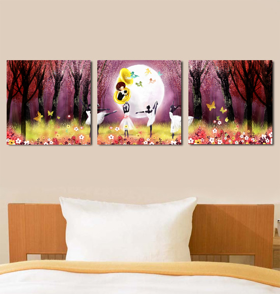 Wang painting Moonlight ballet decorative painting / sofa backdrop mural paintings Triptych frameless painting the living room