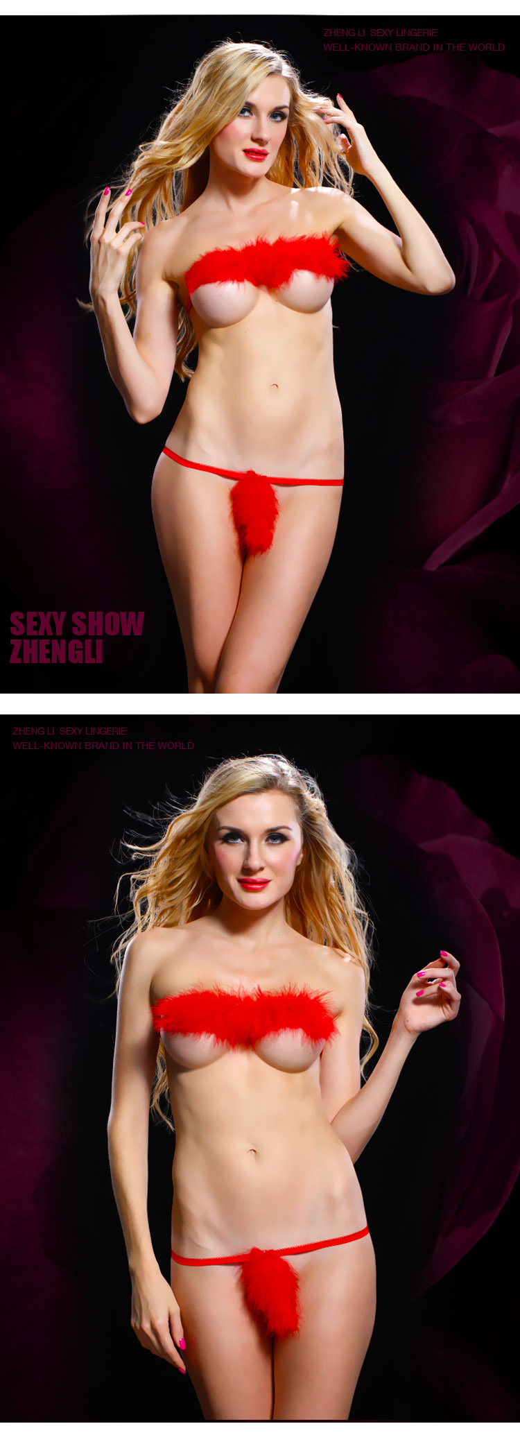 Zhengli Promotion 2. Positive Korea passion sexy lingerie chest a suit sexy seduction transparent red feather bikini
