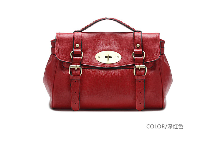 New modern cowhide leather lady tote shoulder crossbody bag D12