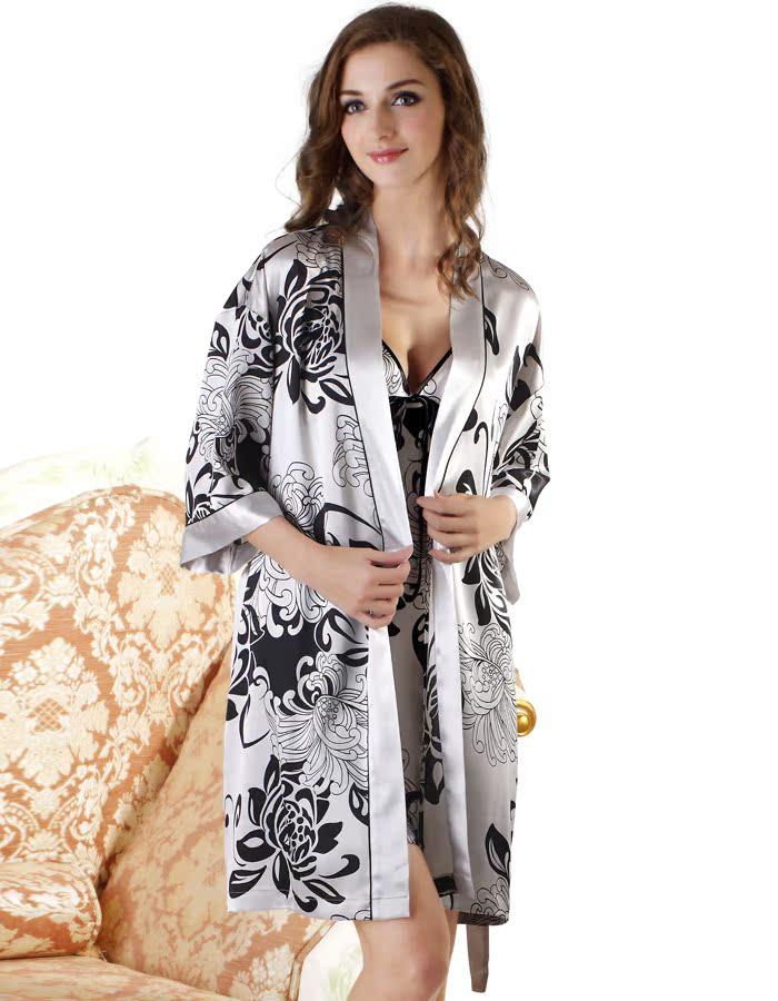 Халат Шелковая Пижама женская-лето кружевной планкой плюс размер сексуальная ночная рубашка любителей двухсекционный платье одежда бренда