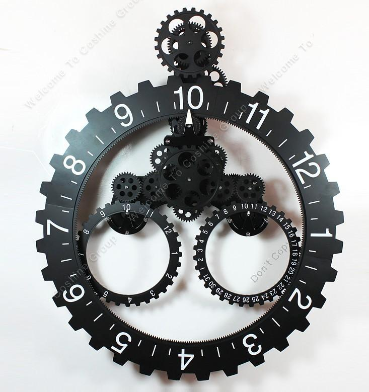 black color modern contemporary mechanical gear wall clock
