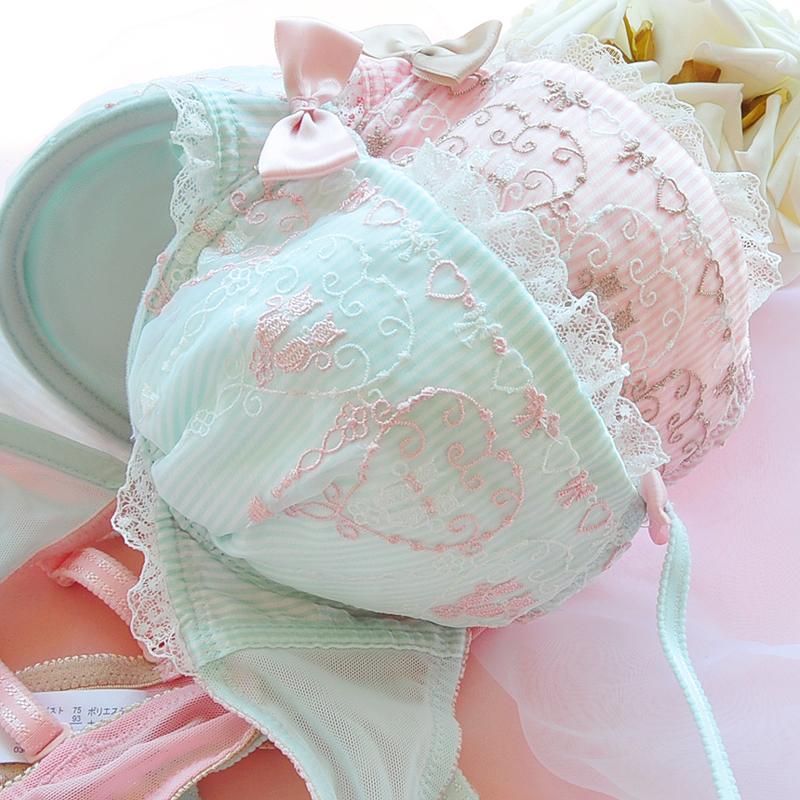 Комплект нижнего белья 70D собрались кружевной бюстгальтер сексуальная белье оригинального одного бледно зеленого Японии установить покупки чашки Японский экспорт