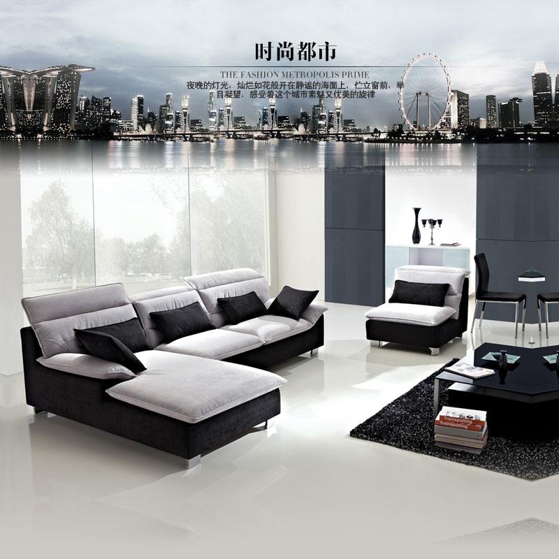 Диван Съемные и моющиеся размер квартира гостиной шезлонгом угловой пользовательских ткань диван сочетание пакета почты простой современный диван