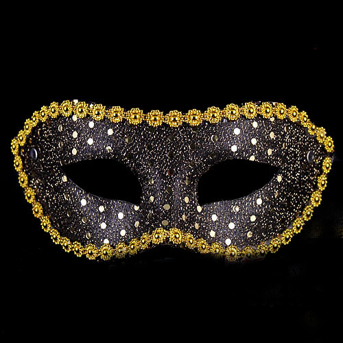 Cutevima-TM W22 Fun point masquerade party supplies half face mask flat painted cloth lace sequined mask pack